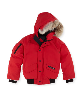 Rundle Bomber w/Detachable Fur Trim, Red, Youth XS-XL