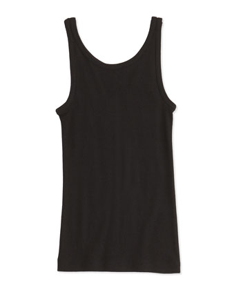 Girls' Favorite Ribbed Tank Top, Black, 4-6X