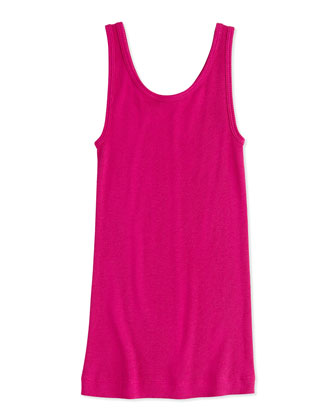 Girls' Favorite Ribbed Tank Top, Fuchsia, 4-6X