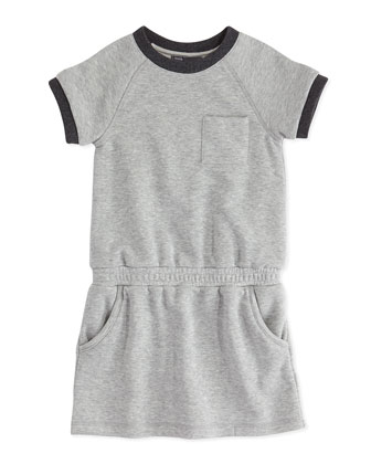 Girls' French Terry Dress, Heather Gray