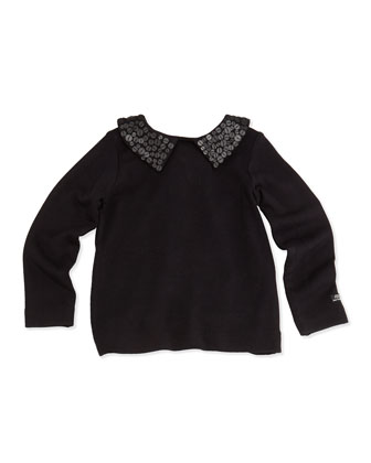Lalie Sequin-Collar Tee, Black, 2-6