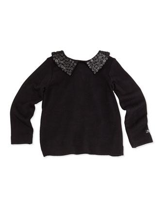 Lalie Sequin-Collar Tee, Black, Sizes 8-12