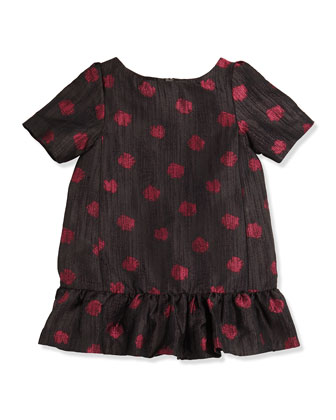 Lapastille Polka-Dot Dress, Black, Girls' 2-6