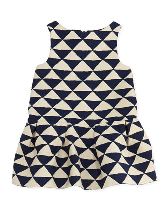 Ledomino Triangle-Print Dress, Blue, Girls' Sizes 8-12