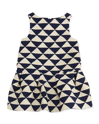 Ledomino Triangle-Print Dress, Blue, Girls' Sizes 8-12