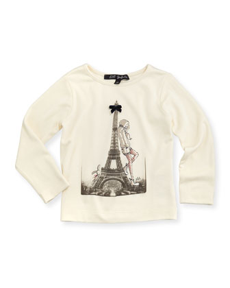 La Pose Long-Sleeve Tee, Ivory, Girls' 2-6