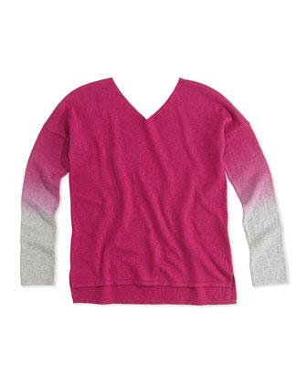 Dip-Dye V-Neck Sweater, Fuchsia, Girls' 4-6X