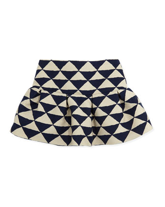 Girls' Lemiel Knit Zip-Front Cardigan & Liam Triangle-Print Skirt