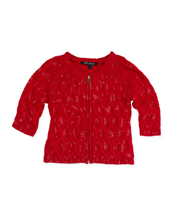 Lemiel Knit Zip-Front Cardigan, Red, Girls' 8-12