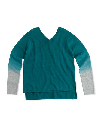 Dip-Dye V-Neck Sweater, Deep Lake Gray