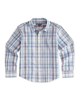 Boys' Plaid Button-Down Shirt, Blue, S-XL