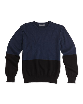Boys' Colorblock Crewneck Sweater, Black