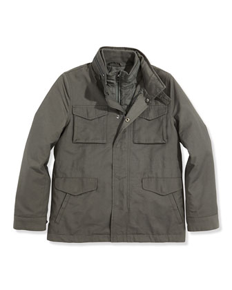 Boys' 3-in-1 Field Jacket, Raw-Edge V-Neck Cashmere Sweater & Boys' ...