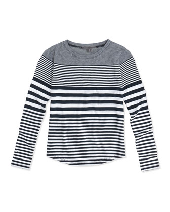Striped Shirttail Tee, White/Black, Kids' Sizes S-XL