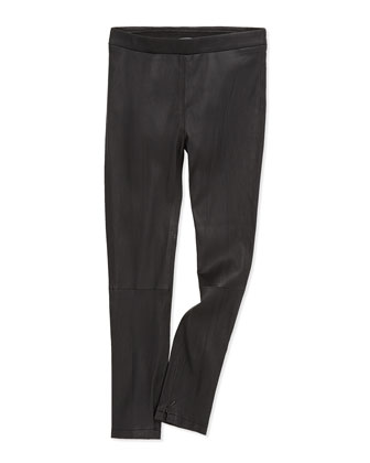 Stretch-Leather Leggings, Black, Girls' S-XL