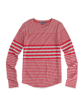 Striped Shirttail Tee, Gray/Raspberry, Girls' S-XL