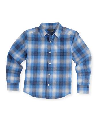 Boys' Shadow-Plaid Button-Down Shirt, Blue, S-XL