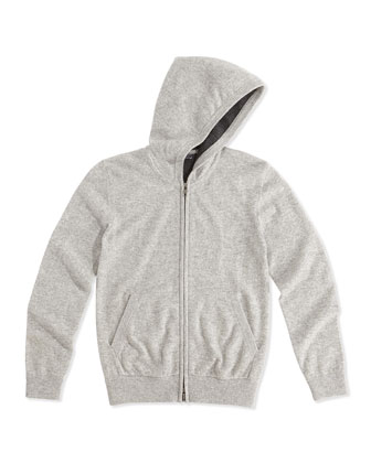 Cashmere Zip Hoodie, Charcoal, Kids' S-XL