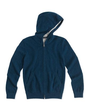 Cashmere Zip Hoodie, Blue/Steel, Kids' S-XL