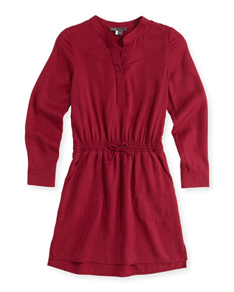 Tencel?? Drawstring Shirtdress, Pink, Girls' S-XL