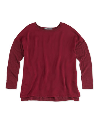 Girls' Mixed Media Long-Sleeve Tee, Burgundy, S-XL