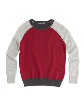 Girls' Colorblock Raglan Sweater, Heather Gray, 4-6X