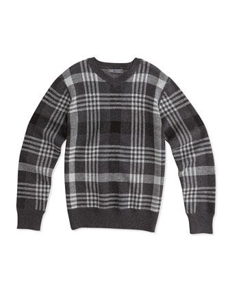 Plaid Jacquard V-Neck Sweater, Charcoal, Sizes 8-16