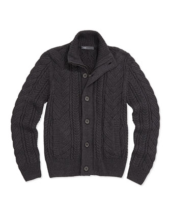 Boys' Mock-Neck Cable-Knit Cardigan, Favorite V-Neck Tee & Brushed ...