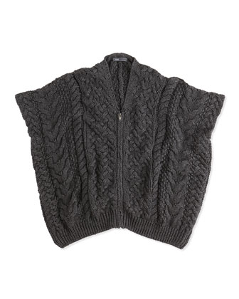 Cable-Knit Zip Poncho, Charcoal, Girls' S-XL