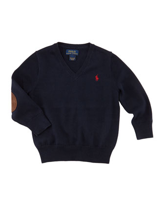 Suede-Patch Cotton Sweater, Hunter Navy, 2T-3T