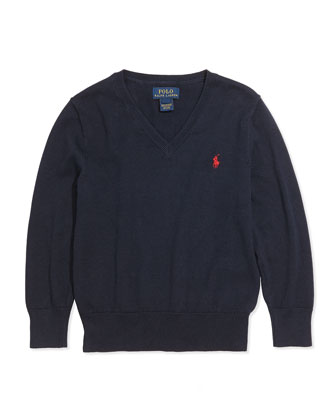 Suede-Patch Cotton Sweater, Hunter Navy, Sizes 4-7
