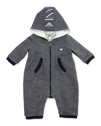 Hooded Logo Melange Playsuit, Black/Gray, Sizes 3-12 Months
