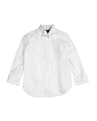 Pleated Tuxedo Shirt, White, Sizes 4-6