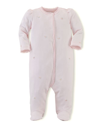 Embroidered Knit Coverall, Delicate Pink, 3-9 Months
