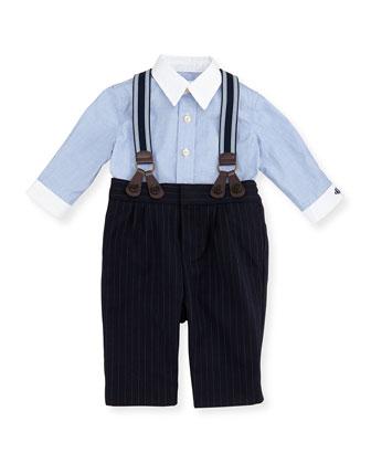 Dress Shirt, Pinstripe Pants & Suspender Set, Race Blue, 3-12 Months