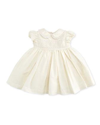 Embroidered Taffeta Dress, Cream, 3-12 Months