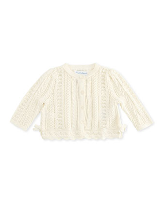 Cashmere-Blend Knit Cardigan, White, 3-12 Months