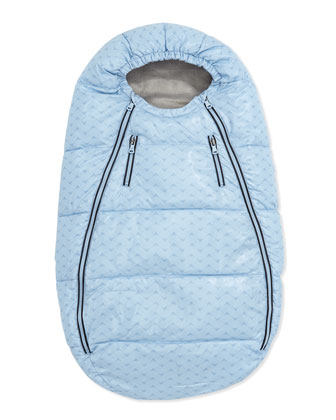 Logo-Print Quilted Bunting Bag, Light Blue