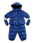 Allover Logo Print Two-Piece Snow Suit, Light Blue, Sizes 3-24 Months