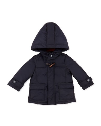 Hooded Nylon Dressy Puffer Jacket, Marine Blue, Sizes 3-24 Months