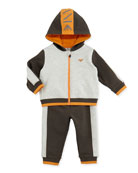 Two-Piece Logo Track Suit, Navy/Orange/Gray, Sizes 3-24 Months