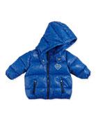 Allover Logo Print Puffer Jacket, Royal Blue, Sizes 3-24 Months