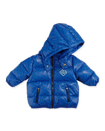 Allover Logo Print Puffer Jacket, Royal Blue, Sizes 3-24 Months