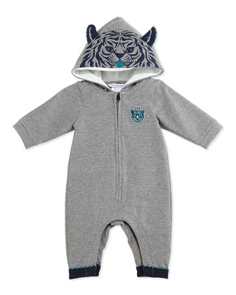 Tiger-Print Playsuit w/Ears, Gray, 3-18 Months