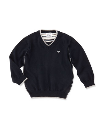 Contrast Trimmed Knit Sweater, Navy, Boys' 2T-8