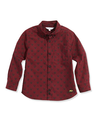 Boys' Tiger-Print Woven Shirt, Dark Red, Sizes 6-10