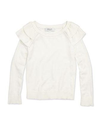Knit Ruffle Pullover Sweater, White, Girls' 8-12