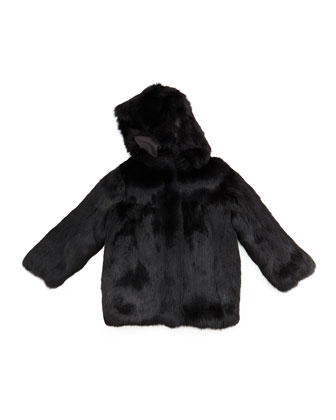 Hooded Fur Coat, Black, Sizes 2-12