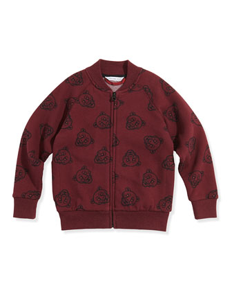 Boys' Allover Panther-Print Zip Cardigan, Plum, Sizes 6-10