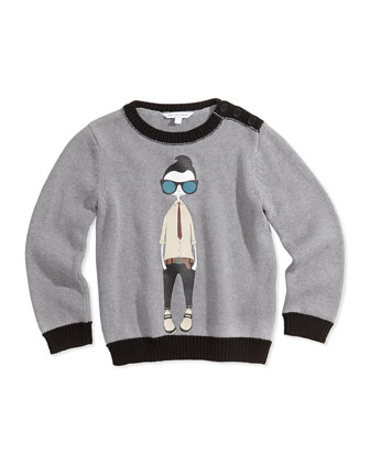 Cool Boy Printed Sweater, Gray, Sizes 6-10